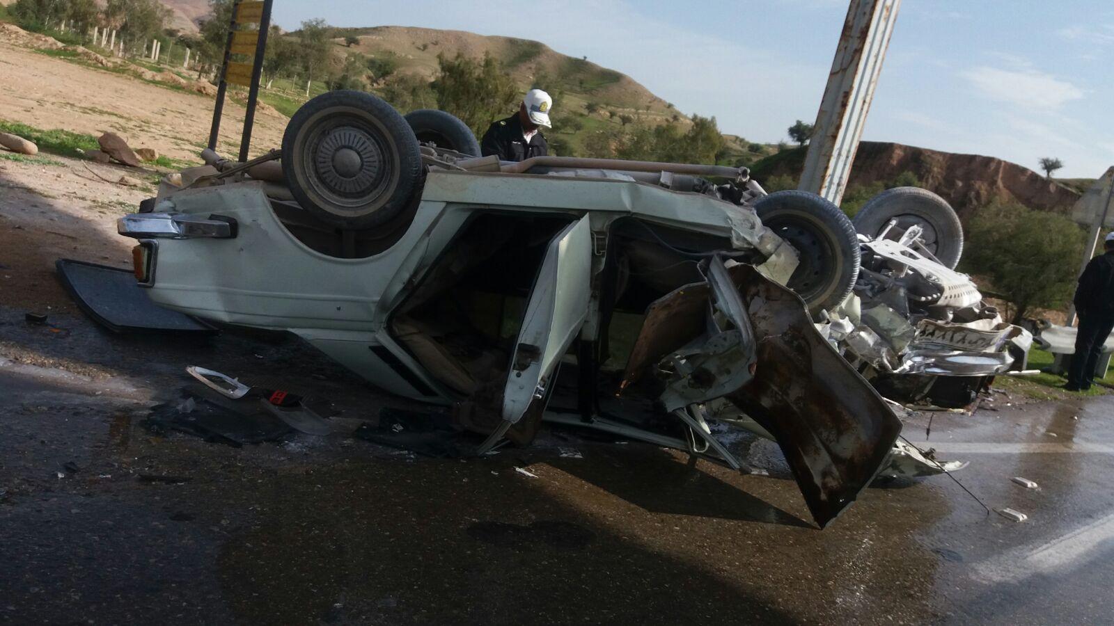 سانحه رانندگی در دوراهی لالی-مسجدسلیمان ۶ مصدوم بر جای گذاشت + تصاویر