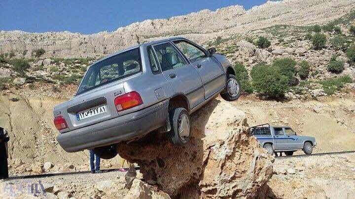 پراید کوهنورد در جاده مسجدسلیمان – شهرکرد  !؟  + تصاویر
