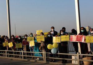 تجمع اهواز در اعتراض به اختصاص بودجه برای انتقال آب کارون