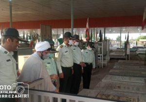غبار روبی مزار شهدا به مناسبت هفته نیروی انتظامی