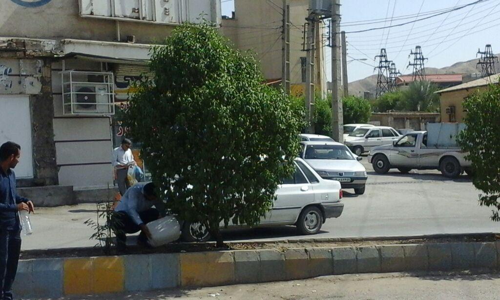 کشمکش بین اداره آبفا و شهرداری مسجدسلیمان؛ سرگردانی فضای سبز بلوار خیابان آزادی …!؟